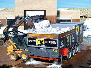 Snow Dragon SND900 Snowmelter clearing stadium lot